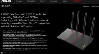 华硕发布 AX55 WiFi 6 路由器:支持 Mesh 组网 提供五个千兆口