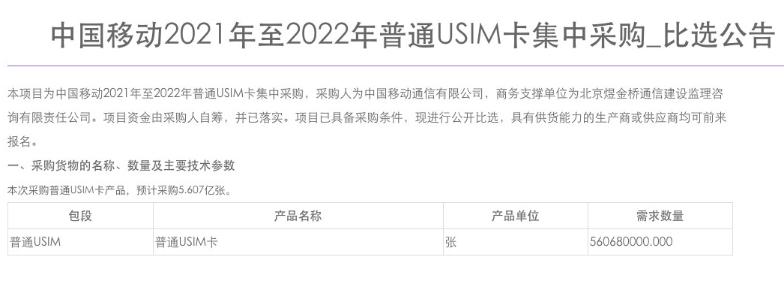 中国移动启动2021-2022年普通 USIM 卡集采 供应商资格要求公布