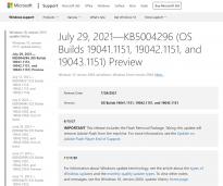 微软Win10 Build 19043.1151发布 详细更新日志及下载链接