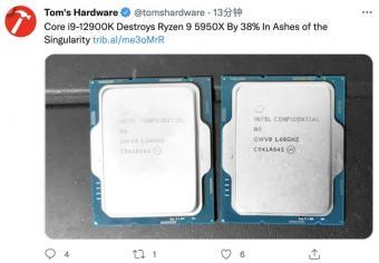英特尔酷睿i9-12900K奇点灰烬跑分强于AMD R9 5950X 前者秋季推出
