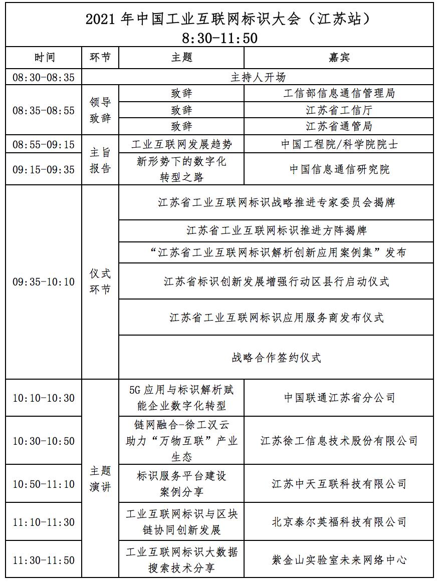 标识连通万物 智享赋能未来——工业互联网标识大会暨标识中国行(江苏站)将于10月20日在南京举办