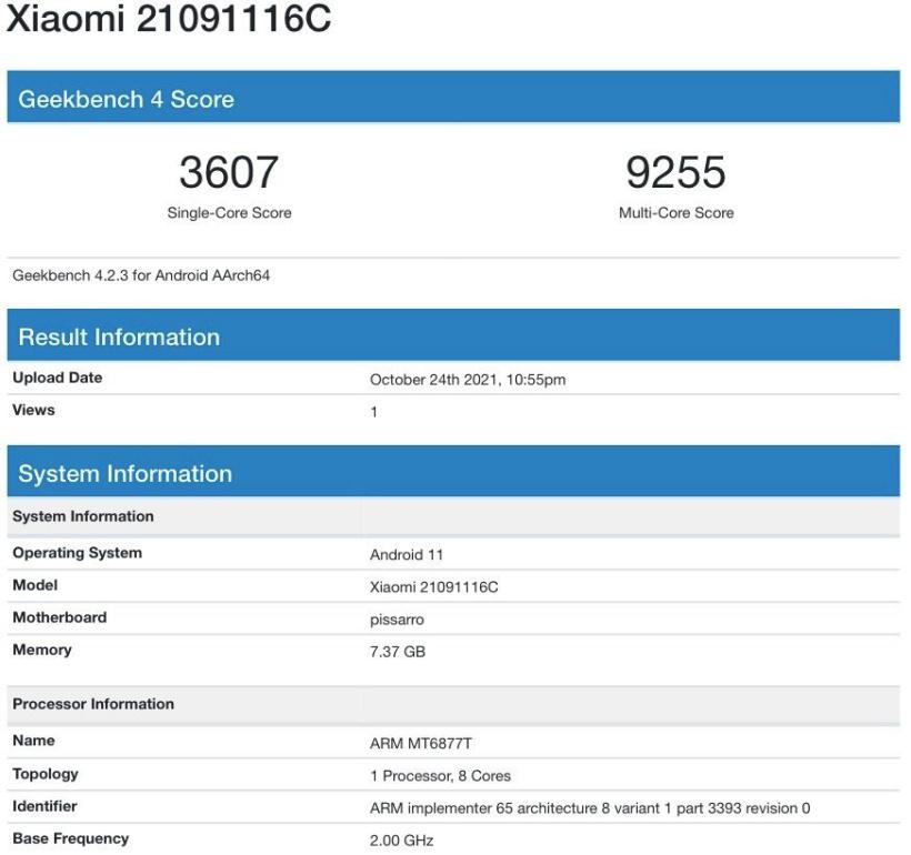 Redmi Note 11 Pro跑分曝光:多核2221 安兔兔跑分50W